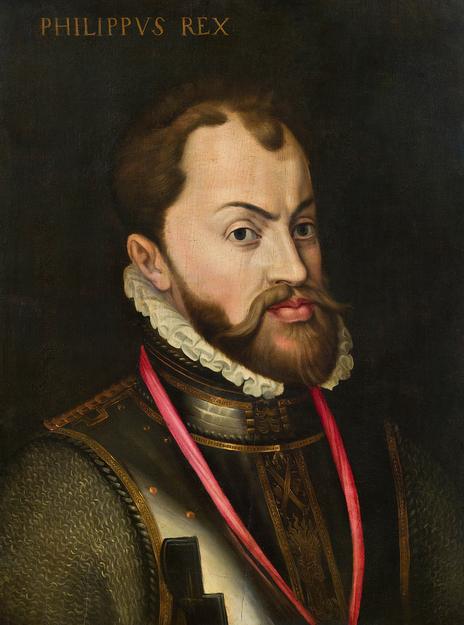 Portrait of Philip II (1527-1598), King of Spain (1556), King of Naples (1554), King of England (with Mary I) from 1554 to 1558, King of Portugal (1581), Lord of the Provinces of the Netherlands (1555), Duke of Milan (1540), Prince of Asturias (1528-1556)