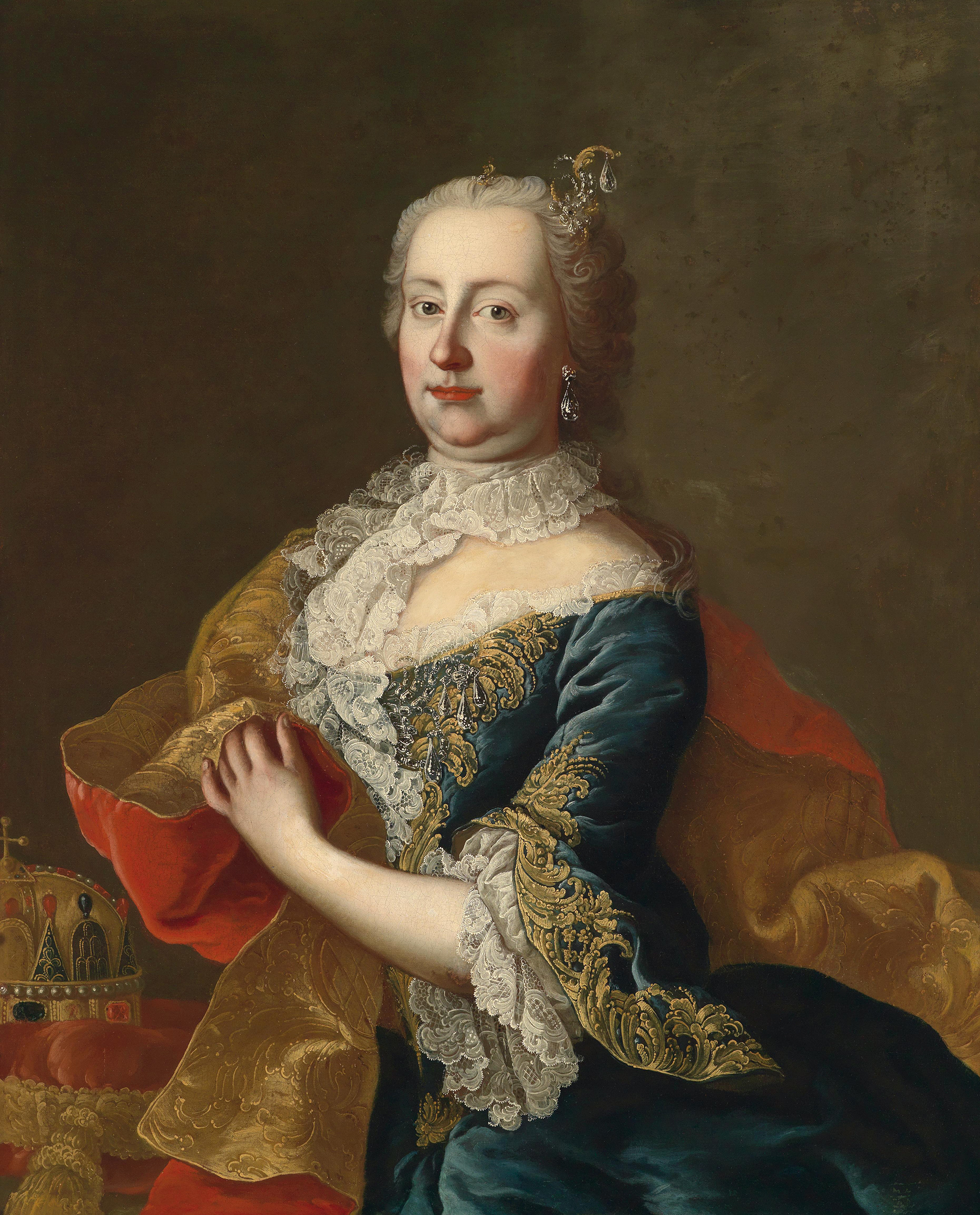 Portrait of Maria Theresa (1717-1780), Queen of Bohemia (1740-1741; 1743-1780), Queen of Hungary and Croatia, Archduchess of Austria, Duchess of Brabant, Limburg, Lothier, Luxembourg and Milan, Countess of Flanders,Hainaut and Namur (1740-1780), Empress consort of the Holy Roman Empire (1745-1765) | Portraits of Kings