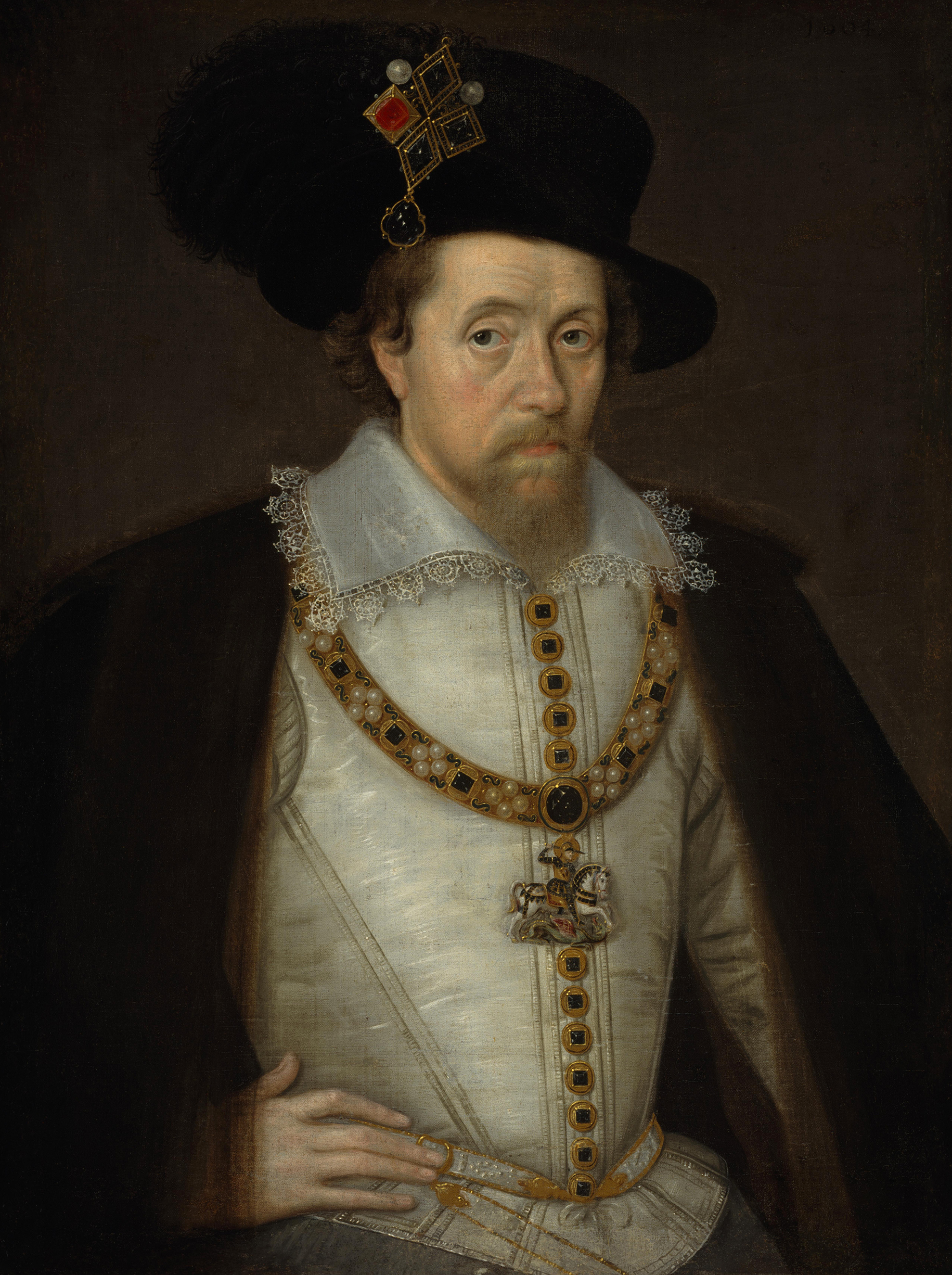 Portrait of James VI and I (1566-1625), King of Scotland (1567-1625), Regency (1567-1580), King of England and Ireland (1603-1625), 1604 | Portraits of Kings