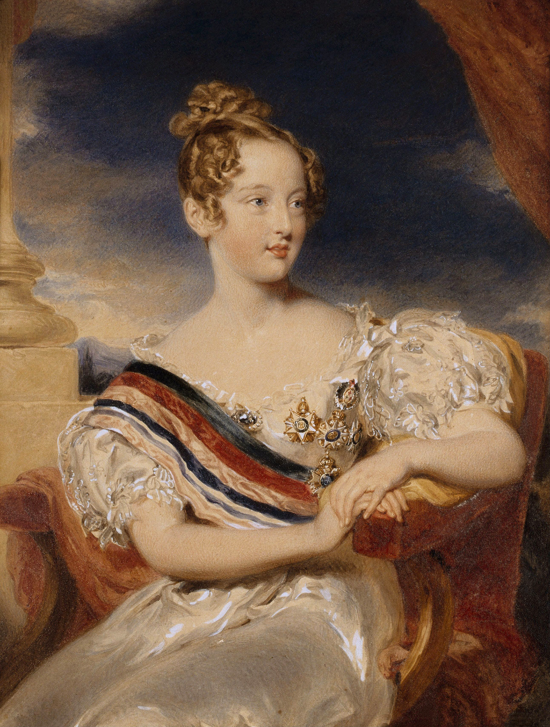 Portrait of Maria II (1819-1853), Queen of Portugal (1826-1828; 1834-1853), 1834 | Portraits of Kings