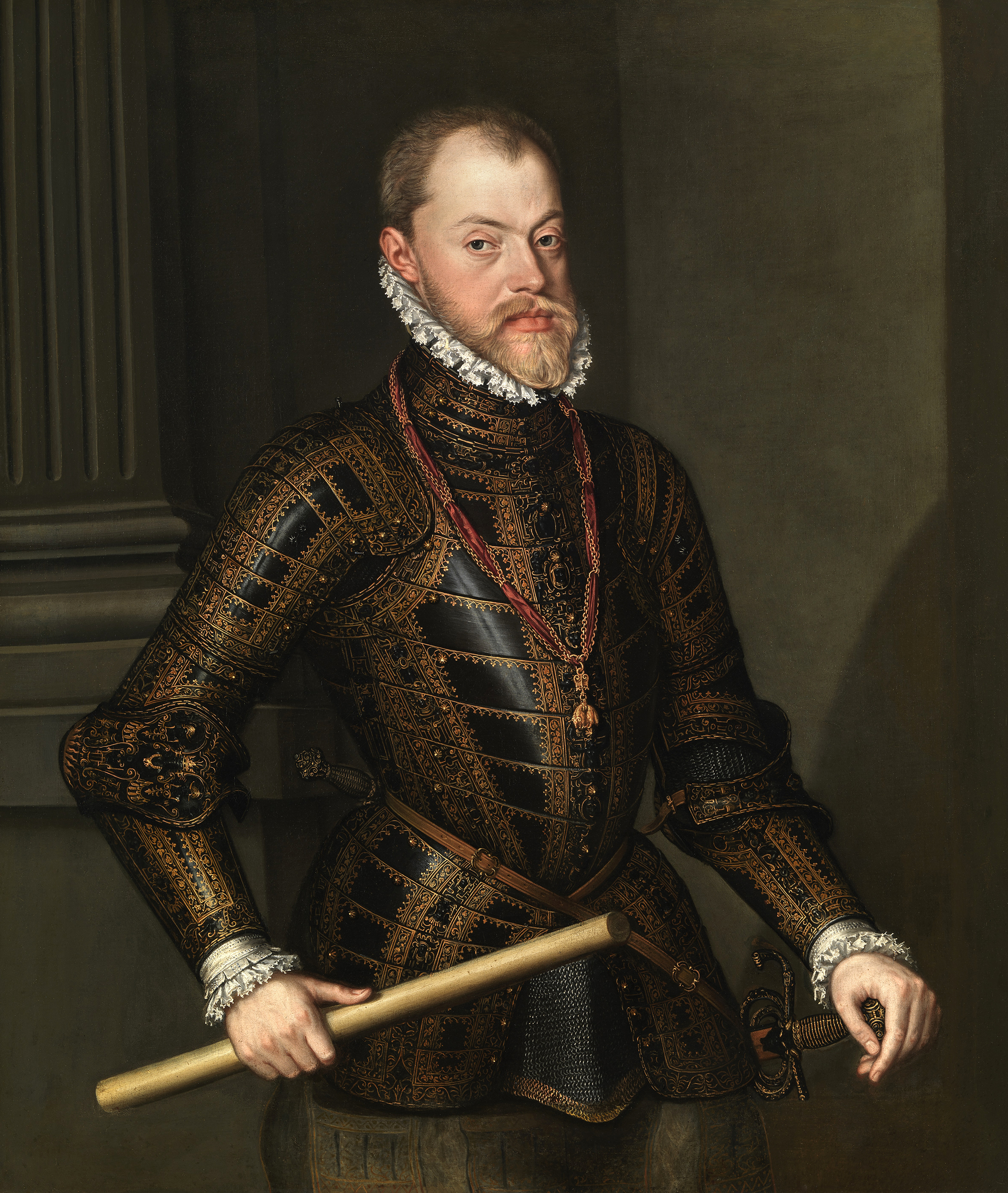 Portrait of Philip II (1527-1598), King of Spain (1556), King of Naples (1554), King of England (with Mary I) from 1554 to 1558, King of Portugal (1581), Lord of the Provinces of the Netherlands (1555), Duke of Milan (1540), Prince of Asturias (1528-1556), 1570 | Portraits of Kings